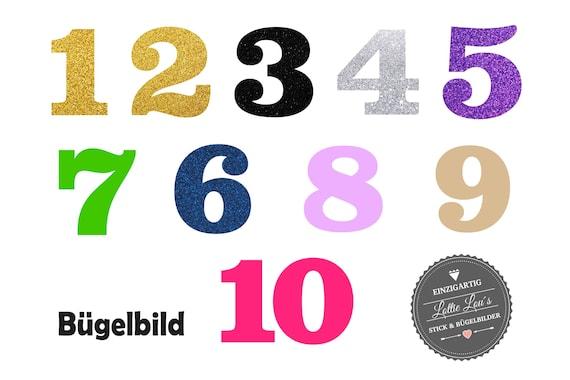 Bügelbild DIY Aufbügler Zahl Number Geburtstag Zahl Name Iron On Flex Flock Glitzer Effekt Geburtstags Shirt Birthday Shirt Individuell