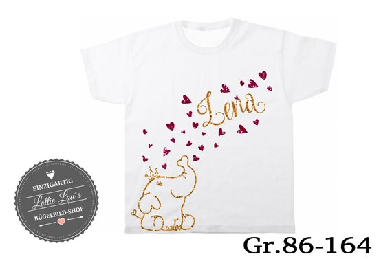 T-shirt elephant with heart wish name