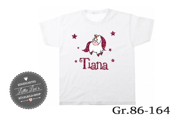 T-shirt unicorn with heart wish name