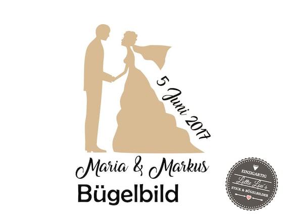 Iron On Bügelbild Hochzeit Brautpaar  Just Married