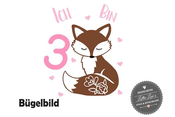 Geburtstag Bügelbild Fuchs mit Wunschname und Zahl