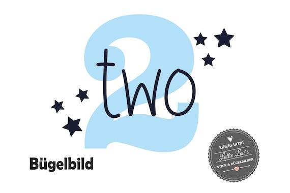 Bügelbild zum zweiten Geburtstag Two mit Zahl und Sterne