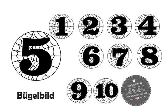 Bügelbild DIY Geburtstag Birthday Spinnennetz Spinne Zahl Name Glitzer Flock Effect Heat Transfer Aufbügler Iron On Geburtstagsshirt