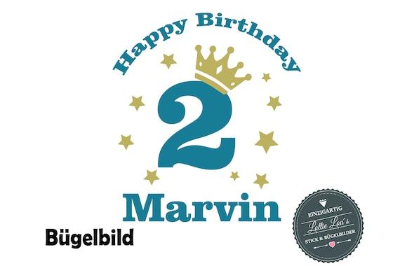 Bügelbild Happy Birthday Geburtstag Zahl NameIron On