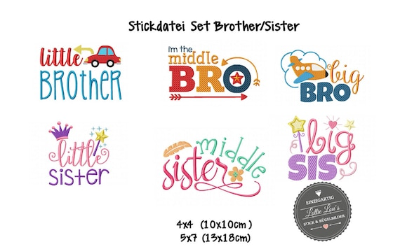 Embroidery design embroidery file set brother BRO sister SIS big Middle Little 4 x 4 5 x 7