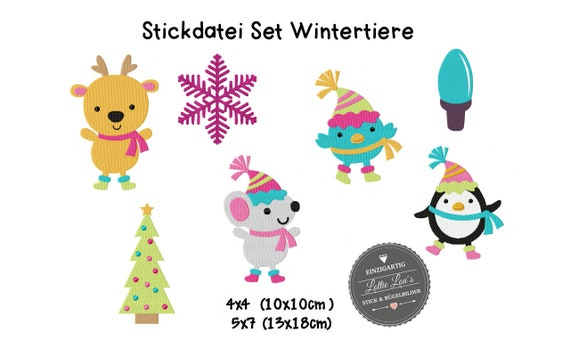 Embroidery file set Christmas winter Animals Christmas