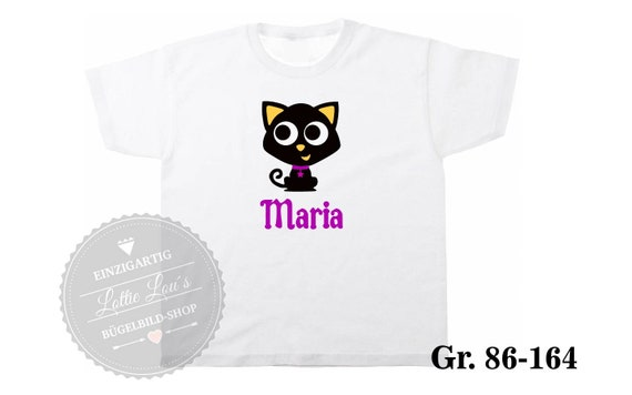 Iron on T-shirt cat cat Halloween with wish name