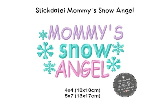 Stick File mommy Snow Angel Winter Snow 4x4 5x7