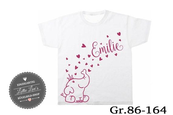 Iron on T-shirt elephant with heart wish name