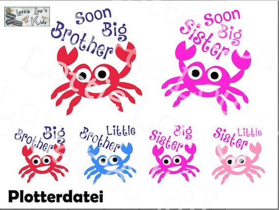 Crab Big Brother Sister Little Sister Bundle  SVG Clipart