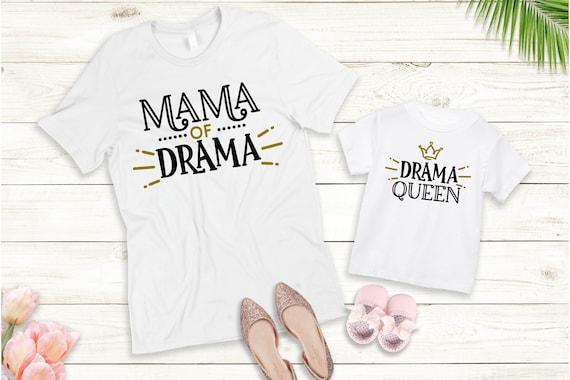Bügelbild oder T-Shirt Drama Queen  Drama Mama Mini Set auch mit Wunschnamen Statement Shirt Muttertag