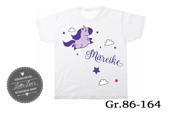 Iron on T-shirt unicorn with heart wish name