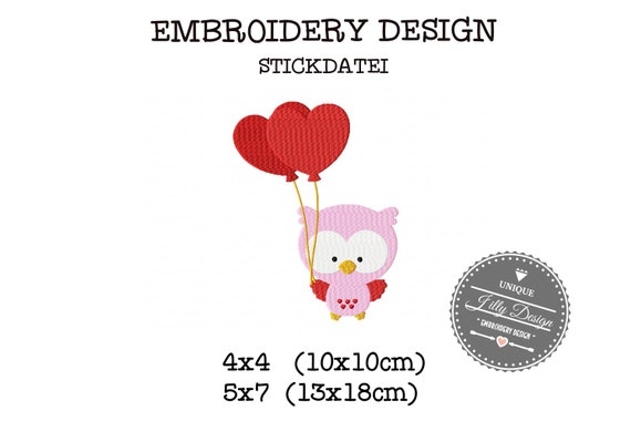 Stick File Owl Heart balloon Love 4x4 5x7