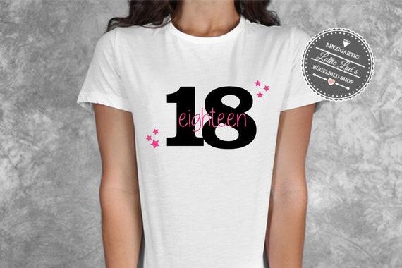 Bügelbild zum 18 Geburtstag Eighteen mit Sterne