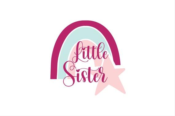 Bügelbild Geschwister Regenbogen Little Sister Brother Middle Sister Little Sister auch mit Wunschnamen / Jahr Statement Shirt
