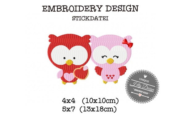 Embroidery file Owl couple love love 4x4 5x7