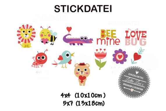Embroidery file Set XXL love Love Valentines Day Animals