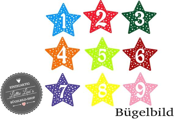 Bügelbild Zahl Geburtstag mit Stern