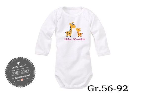 Iron on T-shirt/body Little sister Giraffe