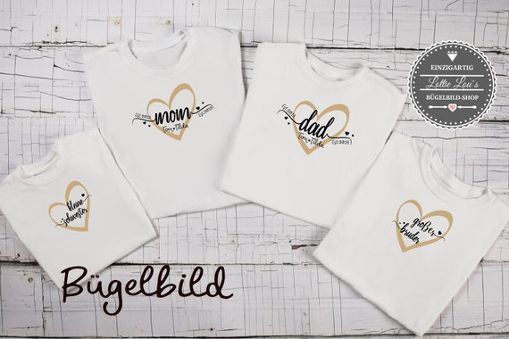 Bügelbild Familie Set Mom Dad Maxi Mini Schwester Bruder   est seit  mit Wunschnamen Statement Shirt