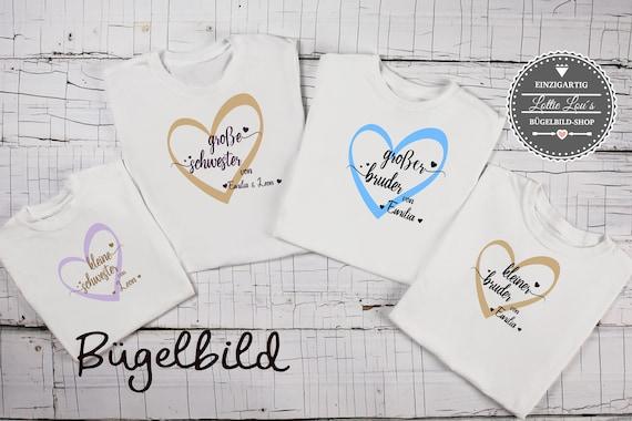 Bügelbild Geschwister Kleine Schwester  Big Brother Bruder Sister Middle Sister Herz auch  mit Wunschnamen Statement Shirt