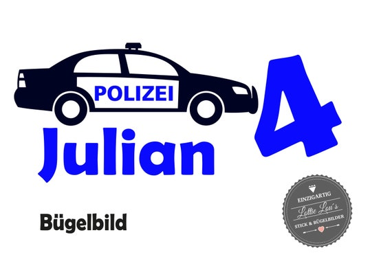 Bügelbild Geburtstag Polizei Streifenwagen Auto