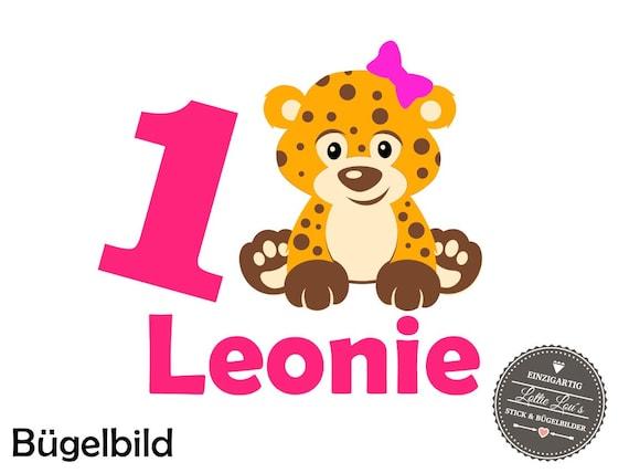 Bügelbild DIY Individuell Custom Geburtstag Birthday Leopard Leo Zahl Name Glitzer Flock Effect Heat Transfer Aufbügler  Bügelbilder Iron On