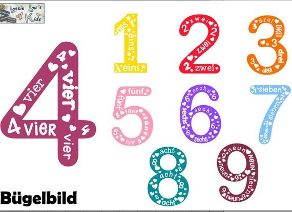 Bügelbild Geburtstag Zahl  mit Sterne / Herzen in Wunschfarbe