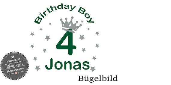 Bügelbild *Birthday Boy*  Zahl und WunschnameIron On