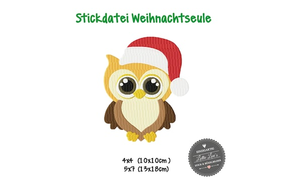 Embroidery file Christmas Owl Owl Christmas