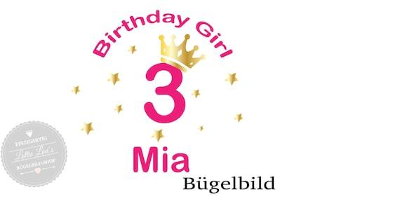 Bügelbild *Birthday Girl *  Zahl und WunschnameIron On
