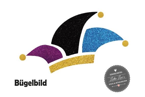 Narrenkappe Karnevalsmütze Bügelbild in Flex Flock Glitzer Effekt