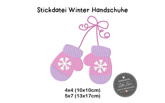 Embroidery file Winter Gloves mittens 4x4 5x7