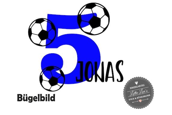 Bügelbild Geburtstag Fußball  mit Name und Zahl