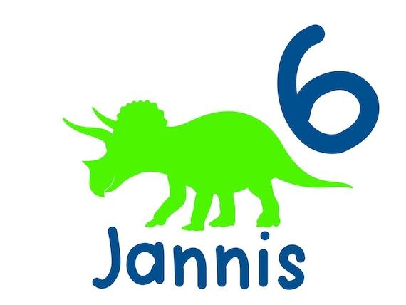 Bügelbild Dinosaurier Dino zum Geburtstag mit Name und Zahl