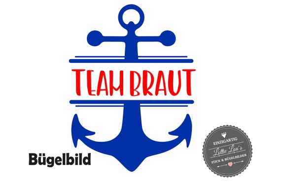 Bügelbild  JGA Junggesellinenabschied Team Braut Bride Crew Maritim Anker Hochzeit Iron On Aufbügler Glitzer Flock Effekt Flex