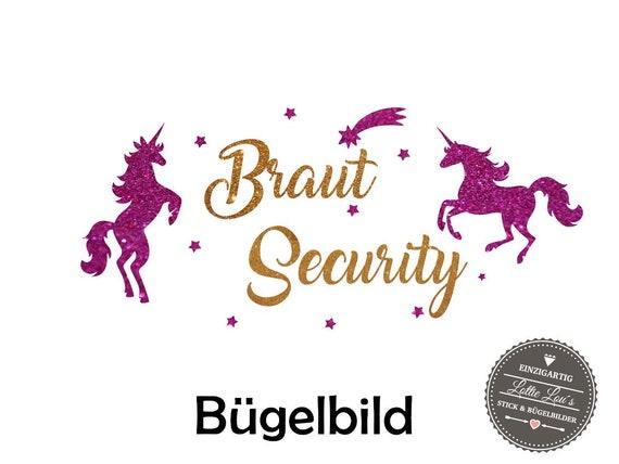 Iron On Bügelbild Braut Security JGA Einhorn XXL