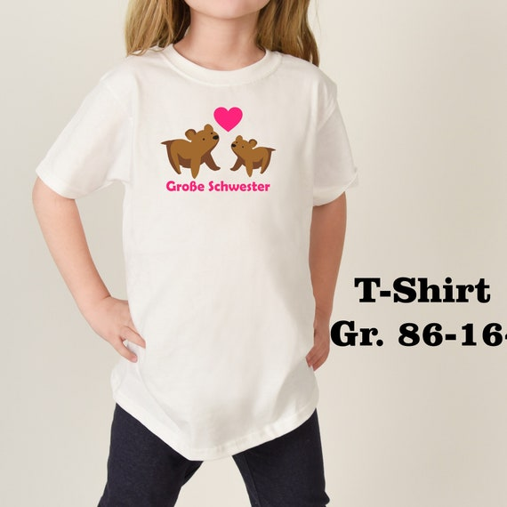 Iron on T-shirt/body big sister bear a. with name year