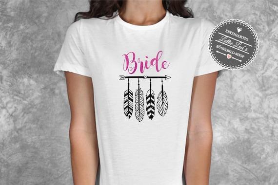 Bügelbild ABraut Bride JGA Jungesellinenabschied Federn