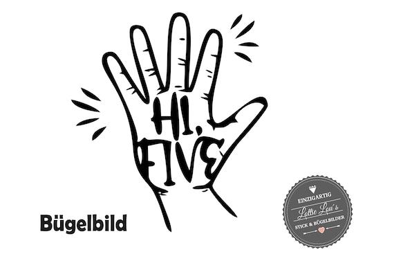 Bügelbild Birthday High Five mit Hand und Finger zum fünften Geburtstag