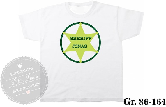 T-Shirt Sheriff Star with wish name & color