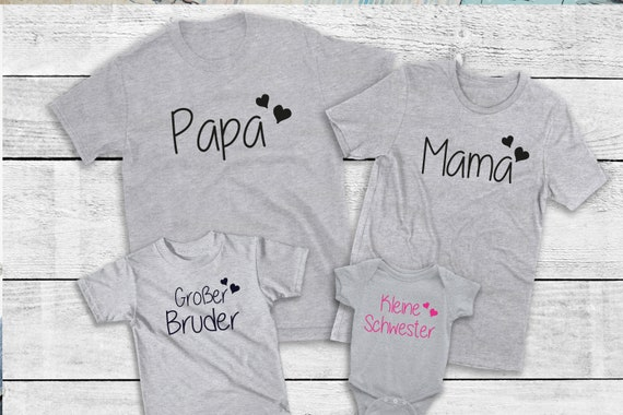 Ironing Picture Family Set Mom Dad Mama Papa Maxi Mini est since with desired name Statement Shirt