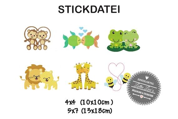 Stick file Set animals Love Monkey fish Lion Bee