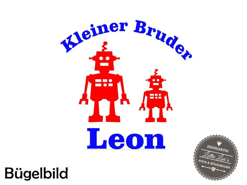 Iron on Temple small brother robot wish size