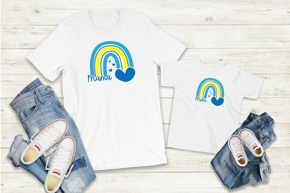 Bügelbild oder T-Shirt  Mama Mini Regenbogen Set auch mit Wunschnamen Statement Shirt Muttertag