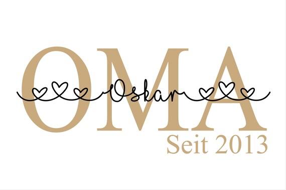 Bügelbild Oma est Omi sei Mom Plott mit Wunschnamen Statement Shirt