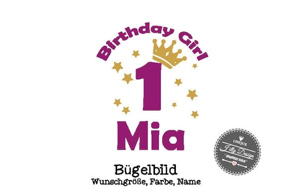 Bügelbild  DIY Geburtstag Birthday Girl Krone Iron On  mit Zahl  Name Aufbügler Glitzer Flock Effekt Flex  Individuell Geburtstags Shirt