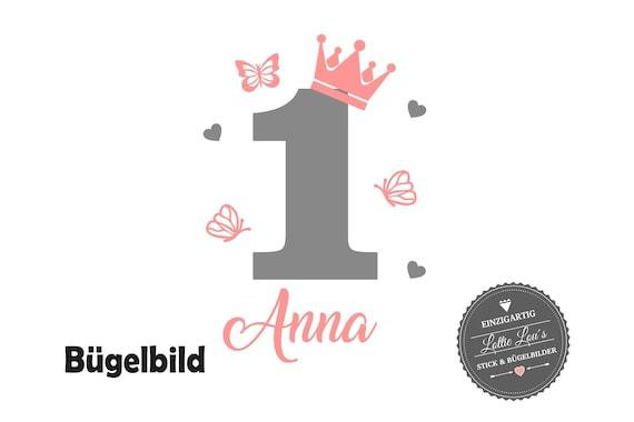 Bügelbild Geburtstag Krone Zahl mit Name Schmetterling Herzen