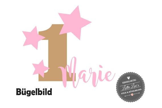 Bügelbild Geburtstag Sterne Star Sternschnuppen mit Name und Zahl zum Geburtstag