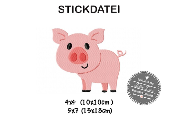 Embroidery file farm pig piglet 4x4 5x7